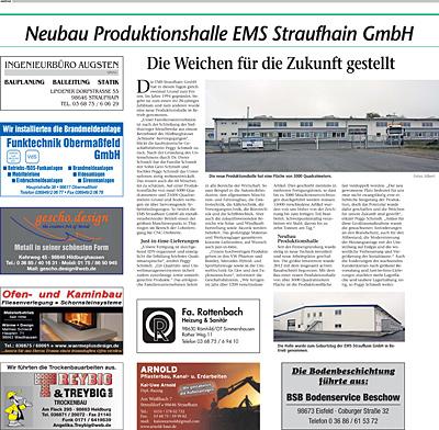 November 2014 – Neubau Produktionshalle EMS Straufhain Die Weichen für die Zukunft gestellt