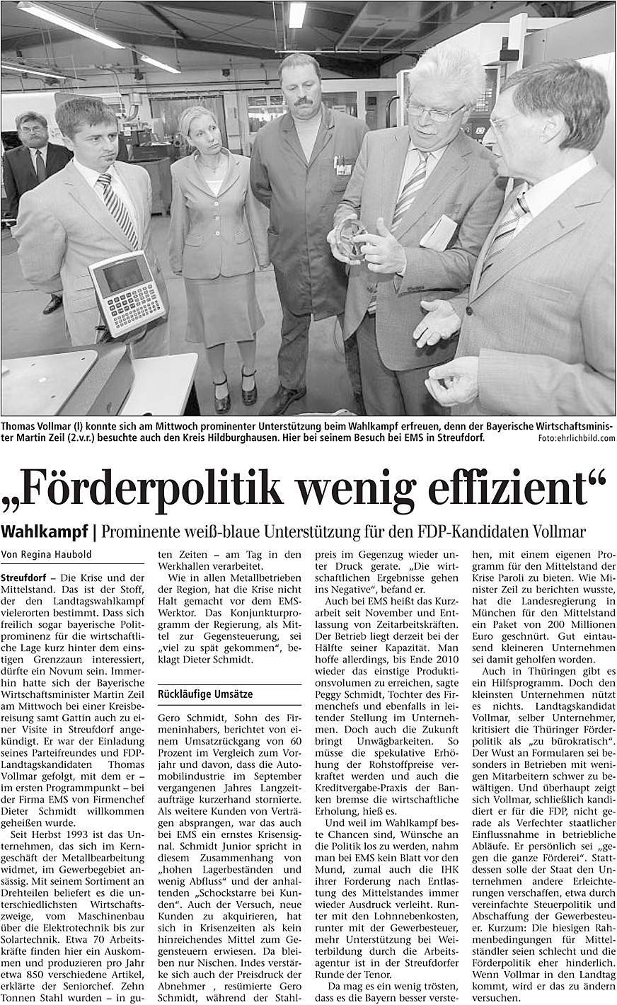 """August 2009 – Zeitungsartikel in """"Freies Wort"""" Förderpolitik wenig effizient"""