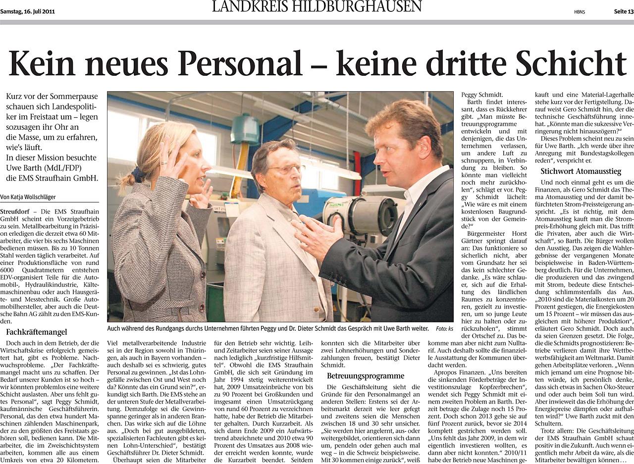 """Juli 2011 – Zeitungsartikel in """"Freies Wort"""" Kein neues Personal – keine dritte Schicht"""