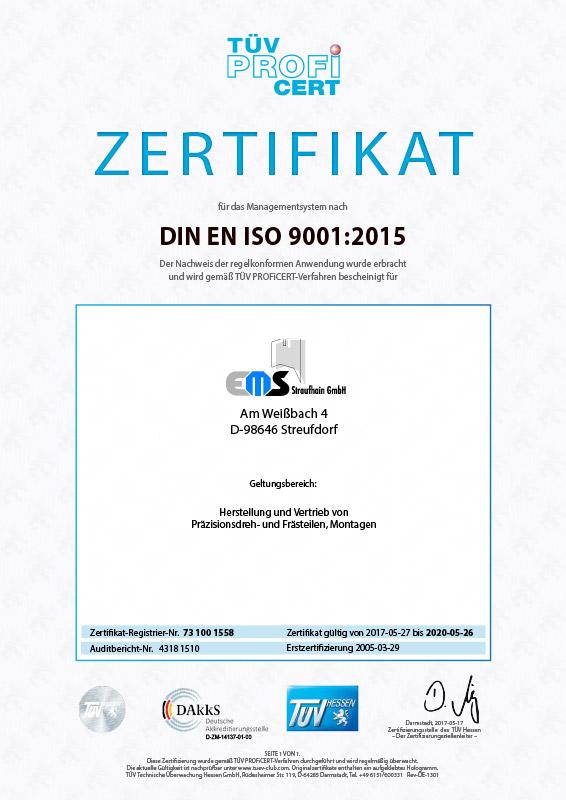DIN EN ISO 9001:2015 Zertifikat deutsch