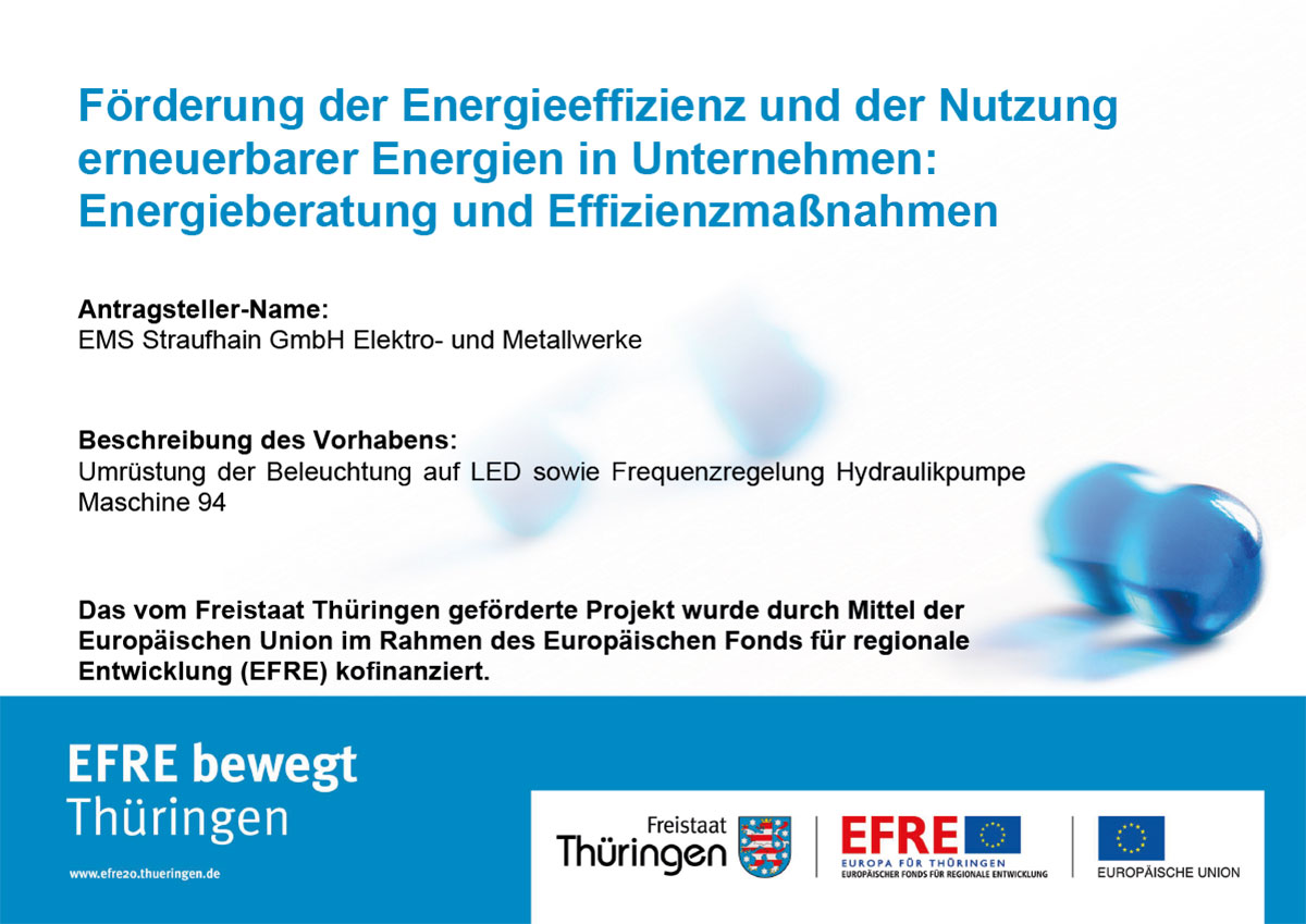 EFRE - Plakat Förderung der Energieeffizienz und Nutzung erneuerbarer Energien